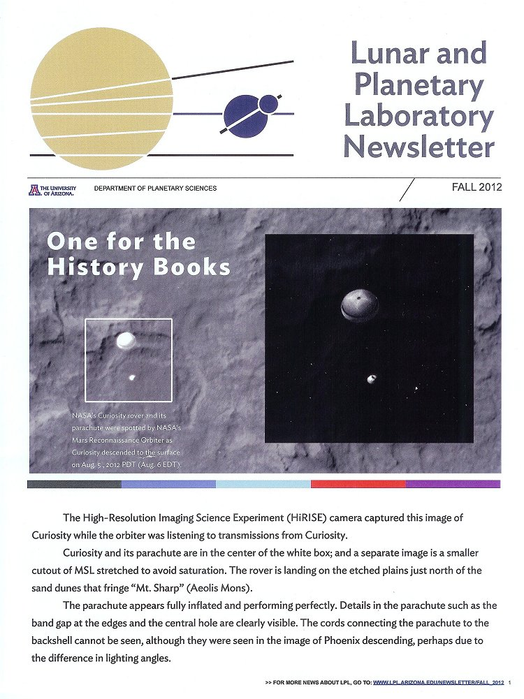 Fall 2012 issue of University of Arizona Lunar and Planetary Laboratory Newsletter.
