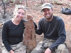 Glorieta Expeditions - Big smiles go well with large Glorieta meteorite.