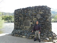 Sutter's Mill Expedition - Greg Hupe with Sutter's Mill memorial landmark.