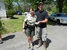 Sutter's Mill Expedition - Suzi Matin and Greg Hupe with her 10.3 gram portion of the Garage Smasher.