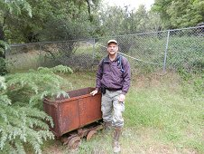 Sutter's Mill Expedition - Greg with old mine cart.