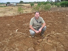 Thika, Kenya Expedition - Greg on site of first recovered meteorite from the fall.