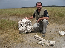 Thika, Kenya Expedition - Greg with elephant skull. Sure wanted to take those teeth home!