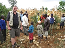 Thika, Kenya Expedition - Mike with large group of excited meteorite hunters.