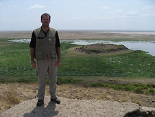 Thika, Kenya Expedition - Greg overlooking the swamp fed by snow melt from Mt. Kilimanjaro.